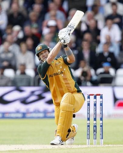 Michael Clarke hits a six during his team's World Twenty20 Cup match against Sri Lanka at Trent Bridge in Nottingham. (AP Photo)