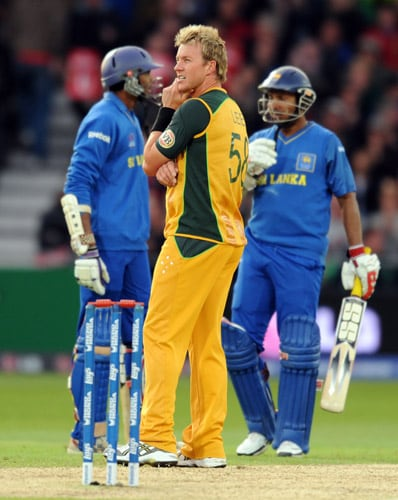 Brett Lee reacts after being hit for six by Kumar Sangakkara during the World Twenty20 match at Trent Bridge in Nottingham. (AFP Photo)