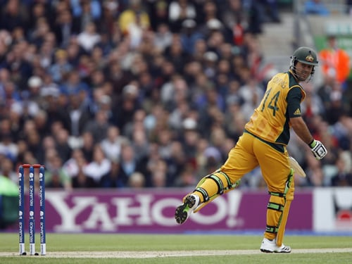 Ricky Ponting of Australia is lbw to Jerome Taylor during their ICC World Twenty20 match against the West Indies at The Oval in London. (AFP Photo)