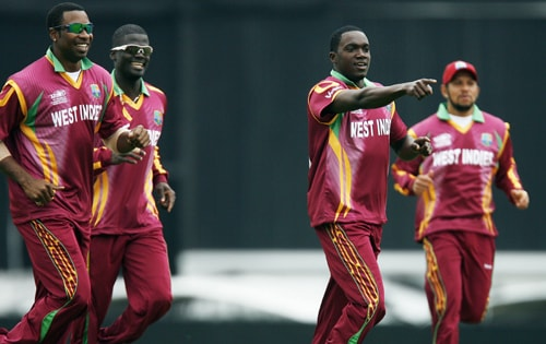 Jerome Taylor of the West Indies celebrates after taking wicket of Australian captain Ricky Ponting for Leg Before Wicket during their ICC World Twenty20 match against Australia at The Oval in London. (AFP Photo)