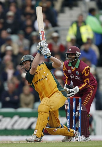 David Hussey of Australia hits a six during their ICC World Twenty20 match against the West Indies at The Oval in London. (AFP Photo)