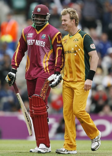 Chris Gayle congratulated by Brett Lee after his innings of 88 during their ICC World Twenty20 match against Australia at The Oval in London. (AFP Photo)