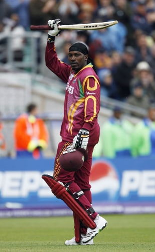 Chris Gayle of the West Indies thanks the crowd after his innings of 88 during their ICC World Twenty20 match against Australia at The Oval in London. (AFP Photo)
