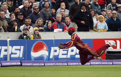 Xavier Marshall of the West Indies drops a catch during their ICC World Twenty20 match against Australia at The Oval in London. (AFP Photo)