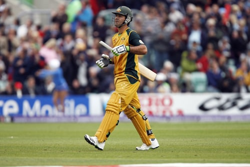 Ricky Ponting of Australia walks off after being lbw to Jerome Taylor during their ICC World Twenty20 match against the West Indies at The Oval in London. (AFP Photo)