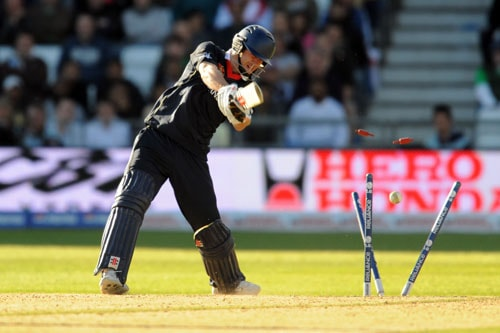 James Anderson is bowled out by Wayne Parnell during the ICC World Twenty20 match at Trent Bridge in Nottingham. (AFP Photo)