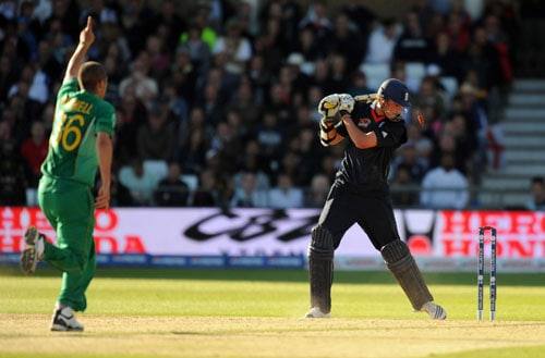Stuart Broad is bowled out by Wayne Parnell during the ICC World Twenty20 match at Trent Bridge in Nottingham. (AFP Photo)