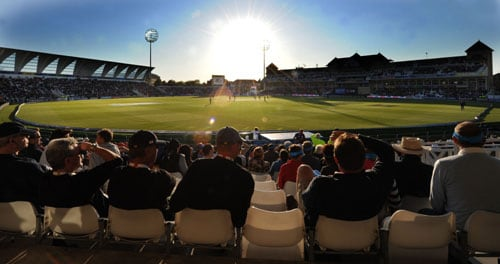 England take on South Africa during the ICC World Twenty20 match at Trent Bridge in Nottingham. (AFP Photo)