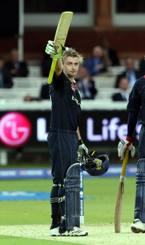Luke Wright reaches his during their Twenty20 World Cup match against Netherlands at Lord's in London. (AP Photo)