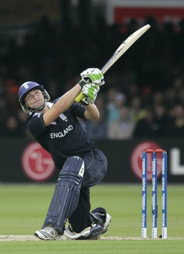 Luke Wright hits out against the Netherlands during their Twenty20 World Cup match at Lord's in London. (AP Photo)
