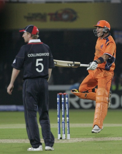 Edgar Schiferli celebrates as his team defeats England in their Twenty20 World Cup match at Lord's in London. (AP Photo)