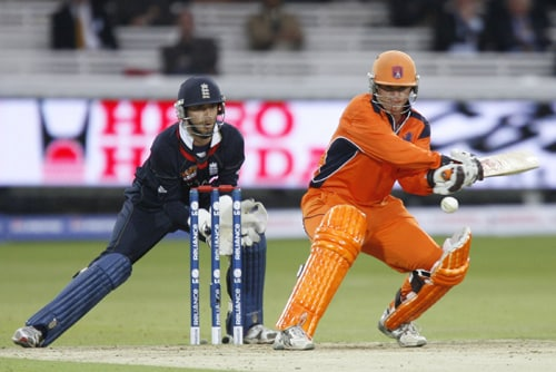 Tom De Grooth plays a reverse shot watched by James Foster during their ICC World Twenty20 Cup match at Lord's in London. (AFP Photo)
