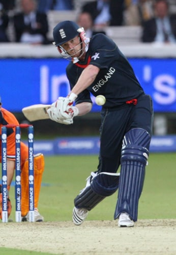 Paul Collingwood hits a ball from Pieter Seelaar during their Twenty20 World Cup match at Lord's in London. (AP Photo)