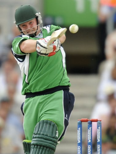 Paul Stirling hits a shot against Pakistan during an ICC World Twenty20 match at the Oval in London. (AFP Photo)