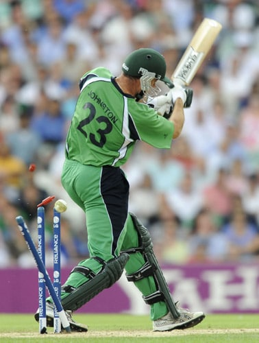 Trent Johnston misses his shot and gets bowled for a duck against Pakistan during an ICC World Twenty20 match at the Oval in London. (AFP Photo)