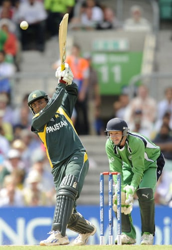 Abdul Razzaq hits a shot against Ireland during an ICC World Twenty20 match at the Oval in London. (AFP Photo)