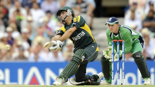 Misbah ul-Haq hits a shot against Ireland during an ICC World Twenty20 match at the Oval in London. (AFP Photo)