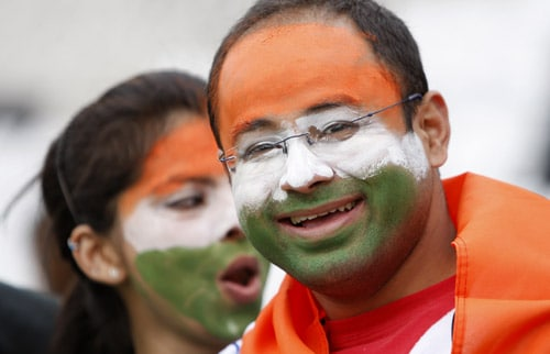 Indian fans are seen before their team's ICC World Twenty20 match against Bangladesh at Trent Bridge ground in Nottingham. (AP Photo)