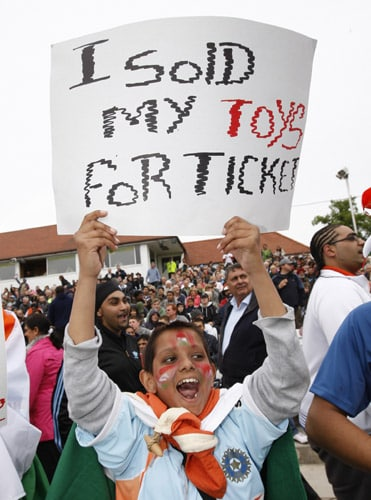 India fans are seen before their team's ICC World Twenty20 match against Bangladesh at Trent Bridge ground in Nottingham. (AP Photo)