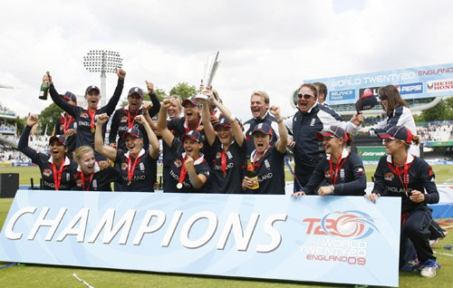 England women's cricket team celebrates with the trophy after winning the ICC World Twenty20 Womens' title against New Zealand at Lord's. (AFP Photo)