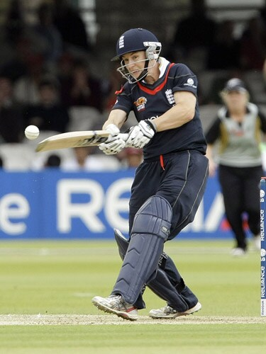 Claire Taylor plays a shot during their ICC World Twenty20 Women's Final match at Lord's. (AP Photo)