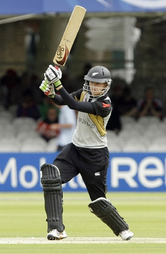 Amy Satherthwaite plays a shot during their ICC World Twenty20 Women's Final match at Lord's. (AP Photo)