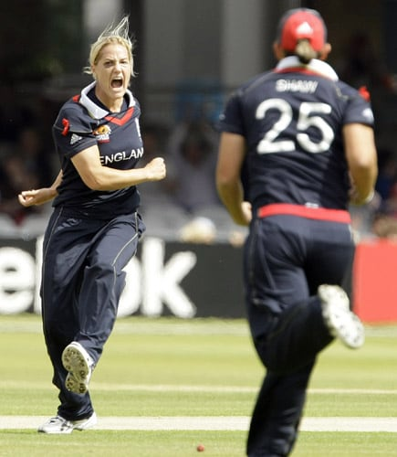 Katherine Brunt celebrates after she bowled the wicket of Aimee Watkins during their ICC World Twenty20 Women's Final match at Lord's. (AP Photo)