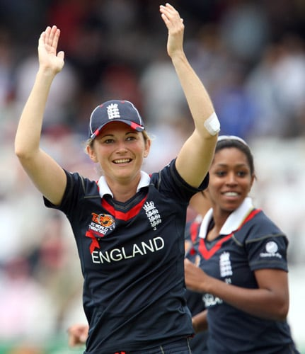 Charlotte Edwards celebrates as her team beat New Zealand to win their ICC World Twenty20 Women's Final match at Lord's. (AP Photo)