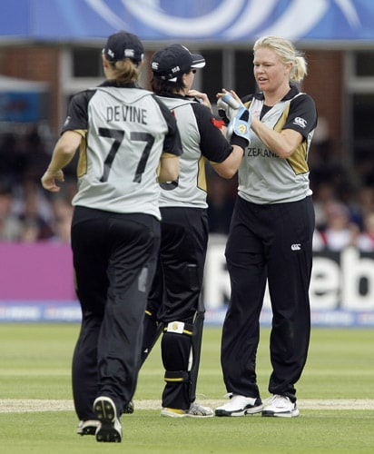 Kate Pulford celebrates the wicket of Sarah Taylor after she was bowled by Pulford and caught by Rachel Priest during their ICC World Twenty20 Women's Final match at Lord's. (AP Photo)