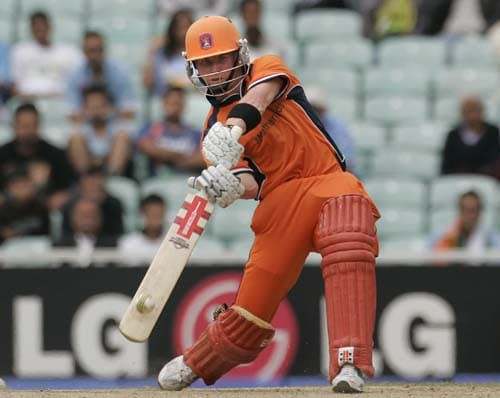 Netherland's Alexi Kervezee hits against Scotland in their warm-up match for the Twenty20 World Cup match at the Oval in London, on Wednesday. Netherlands won the game by seven wickets. (AP Photo)