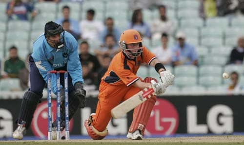 Netherland's Alexi Kervezee hits out watched by Scotland's wicket keeper Colin Smith in their warm-up match for the Twenty20 World Cup match at the Oval in London, on Wednesday. (AP Photo)