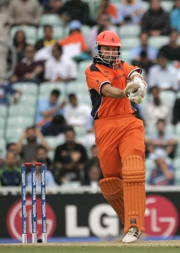 Ryan ten Doeschate of the Netherlands hits out against Scotland in their warm-up match for the Twenty20 World Cup match at the Oval in London, on Wednesday. (AP Photo)