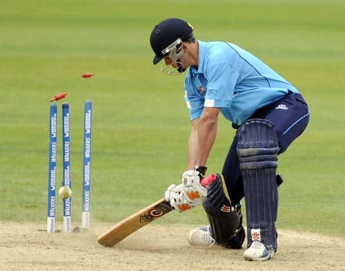 Scotland's Kevin Macleod turns to see the ball hit the stumps after missing his shot against the Netherland's during an ICC World Twenty20 World Cup warm-up match at the Oval, in London, on Wednesday. Macleod was out for 1 run. (AFP Photo)
