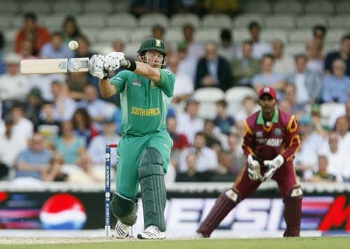 Mark Boucher bats against the West Indies during the ICC World Twenty20 match at the Oval in London. (AFP Photo)