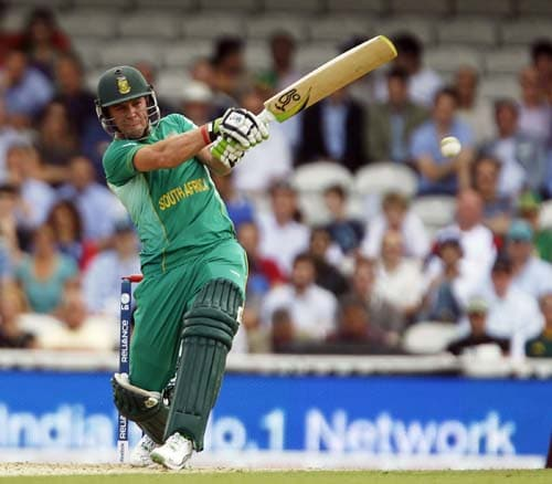 AB de Villiers bats against the West Indies during the ICC World Twenty20 match at the Oval in London. (AFP Photo)