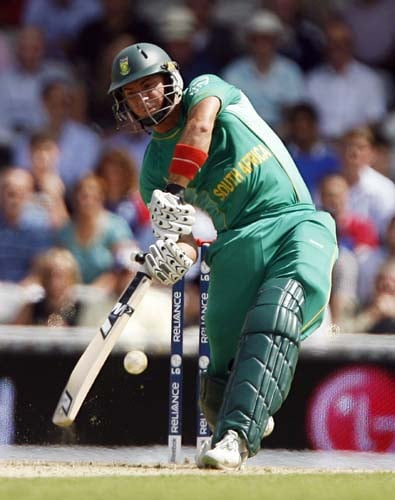 Herschelle Gibbs bats against the West Indies during the ICC World Twenty20 match at the Oval in London. (AFP Photo)