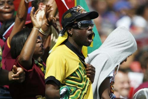 West Indies fans attend the ICC World Twenty20 match against South Africa at the Oval in London. (AFP Photo)