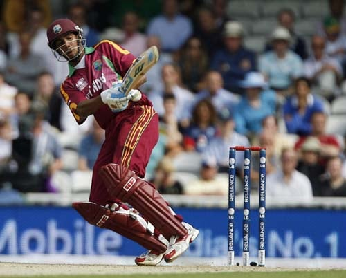 Lendl Simmons bats against South Africa during the ICC World Twenty20 match at the Oval in London. (AFP Photo)