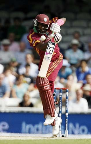 Dwayne Bravo plays a shot against South Africa during the ICC World Twenty20 match at the Oval in London. (AFP Photo)