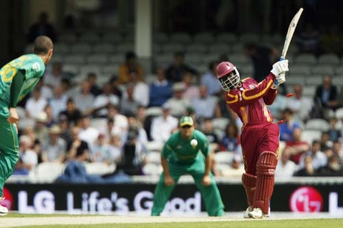 Andre Fletcher is being bowled by Wayne Parnell during their ICC World Twenty20 match at the Oval in London. (AFP Photo)