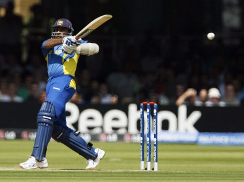 Mahela Jayawardene bats against Ireland during the ICC World Twenty20 match at Lord's in London. (AFP Photo)