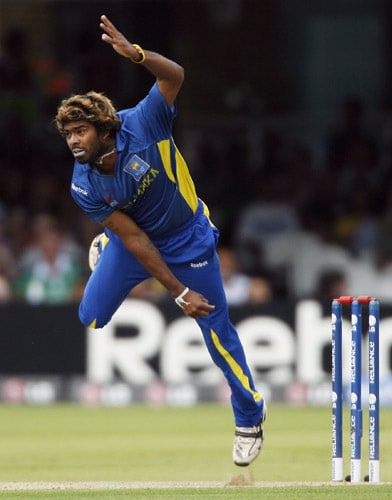 Lasith Malinga bowls against Ireland during the ICC World Twenty20 match at Lord's in London. (AFP Photo)