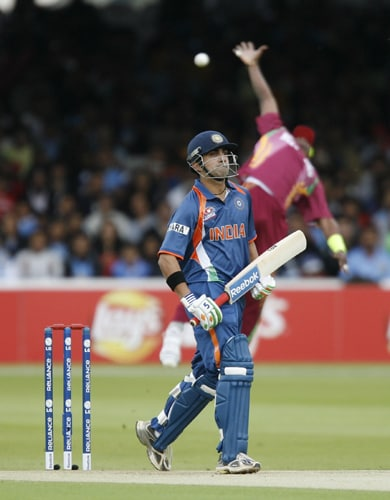 Gautam Gambhir avoids getting caught out whilst batting against the West Indies during the ICC World Twenty20 match at Lord's in London. (AFP Photo)