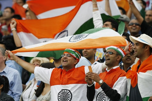 Indian fans cheer during the match against the West Indies in the ICC World Twenty20 at Lord's in London. (AFP Photo)
