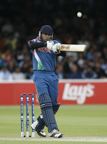 Yuvraj Singh plays this shot for four runs against West Indies during the ICC World Twenty20 match at Lord's in London. (AFP Photo)