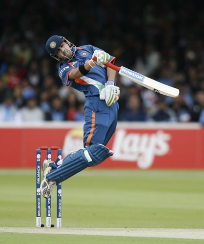 Gautam Gambhir avoids a high ball bowled whilst batting against the West Indies during the ICC World Twenty20 match at Lord's in London. (AFP Photo)