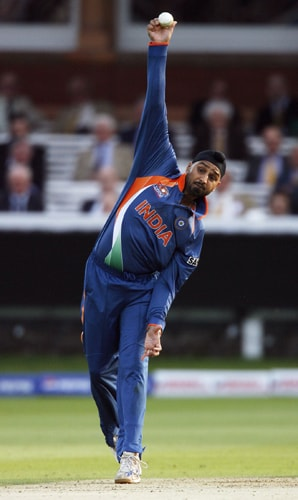 Harbhajan Singh bowls against the West Indies during the ICC World Twenty20 match at Lord's in London. (AFP Photo)