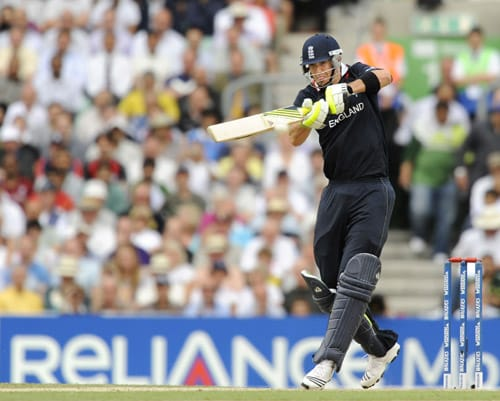 Kevin Pietersen plays a shot against West Indies during the ICC World Twenty20 match at the Oval in London. (AFP Photo)