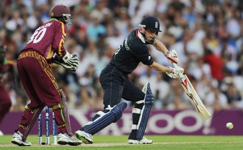 Paul Collingwood plays a shot against West Indies during the ICC World Twenty20 match at the Oval in London. (AFP Photo)