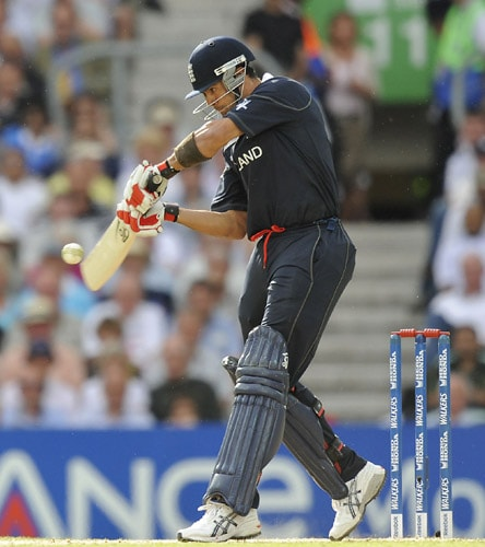 Owais Shah hits a shot against West Indies during the ICC World Twenty20 match at the Oval in London. (AFP Photo)